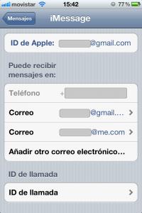 Configuración iMessages