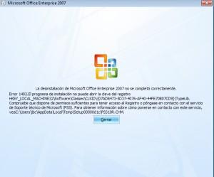 windows daba el error 1402 alegando que no puede acceder a una clave