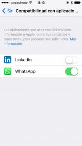 Activar Siri en WhatsApp